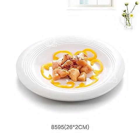 Runde Porzellan/white Western Dish dish Dish/pasta/Steak/Melamin Geschirr, Cap-Stil disc, 26 * 2 cm, Cap-Stil disc, 26*2 (Schmetterling Dish)