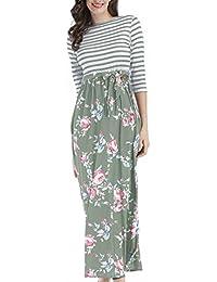 Frühling Herbst Lange Kleid Damen Freizeit Gestreift Druck Spleißen Kleider  Strandkleider Blusenkleider Mode Rundhals 3  571f513229