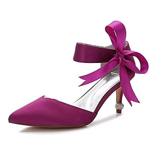 Damen's Wedding Shoes Kitten Heel/Cone Heel/Low Heel Pointed Toe Bow not/Satin Flower/Lace -up Satin Frühling/Sommer, Lila, US7.5 / EU38 / UK5.5 / CN38 Cone Heel