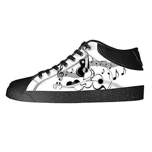 Dalliy Music Note And Guitar Men's Canvas shoes Schuhe Lace-up High-top Sneakers Segeltuchschuhe Leinwand-Schuh-Turnschuhe A