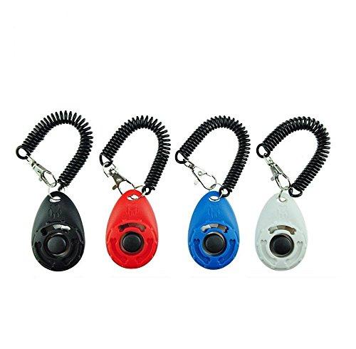 4 Stück in gewünschter Farbe Hunde-Clicker-Klicker Hund-Katze-Pferd-Tier-Ausbildung-Training Erziehung (Blau)