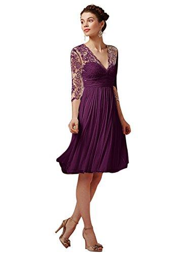 Find Dress Elégant Robe de Soirée Longue pour Femme Ronde Grande Taille Robe Cocktail Manche Longue 3/4 avec Col V Profond en Mousseline avec Dentelle Floral Raisin