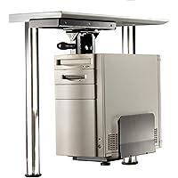 Roline Mobiletto salvaspazio porta-PC con robusta struttura in acciacio color argento