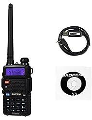 Baofeng UV-5RTP 136-174/400-520MHz Tri-Power 1/4/8W Jamón Radio de Dos Vías Walkie Talkie Two Way Radio, Negro (1 * Radio + 1 * Cable de Programación)