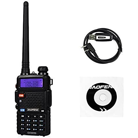 Baofeng UV-5RTP 136-174/400-520MHz Tri-Power 1/4/8W Jamón Radio de Dos Vías Walkie Talkie Two Way Radio, Negro (1 * Radio + 1 * Cable de