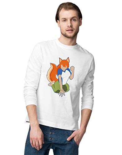 Red Head Anime Girl with a Tail Herren Langarmshirt M