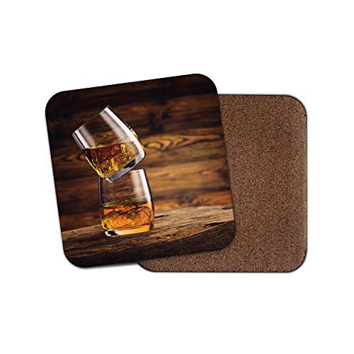 1 x Whisky On The Rocks Untersetzer - Eiche gereiftes Holz Bar Alkohol Getränke Geschenk #16204 -
