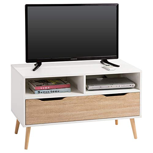 IDIMEX Meuble TV Genova Banc télé de 90 cm au Style scandinave Design Vintage avec 1 Grand tiroir et 2 niches, décor Blanc Mat et chêne Sonoma