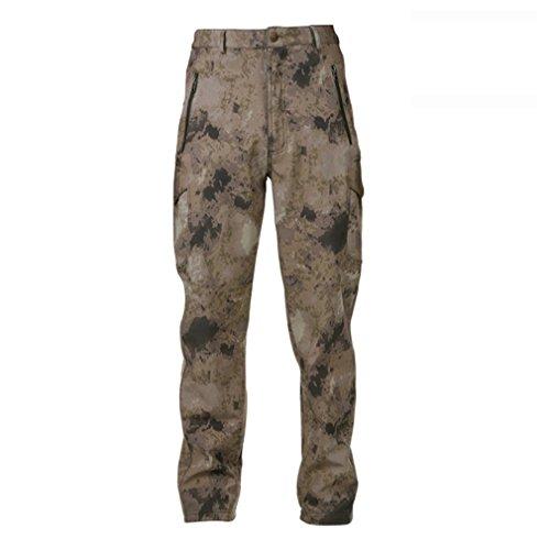 Reebow Gear Herren-Wanderhose Pro Action, wasserdicht, Softshell, warm, Fleece-gefüttert, Cargo-Hose, A-TACS Camouflage, M (Softshell-cargo-hosen)