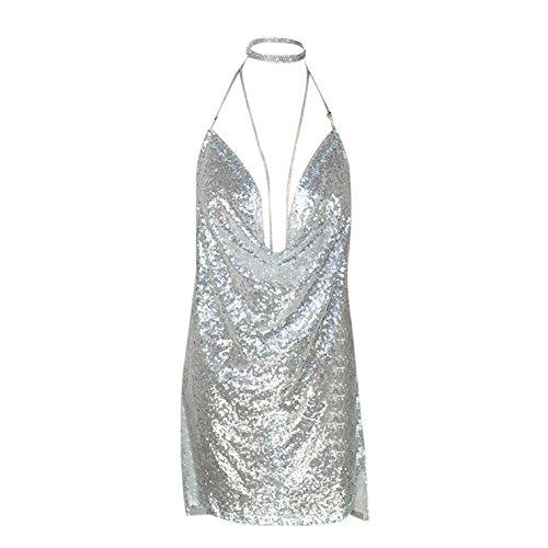 Elecenty Damen Pailletten-Kleid Unterkleid Kendall Kettenhalsband Partykleid Rückenfrei Sommerkleid...