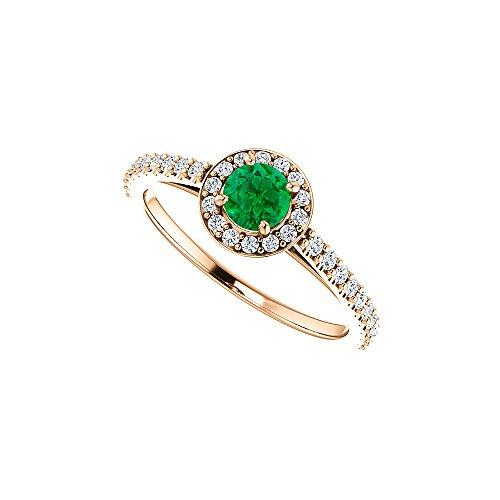 Brilliant Cut Emerald Cubic Zirconia in 14K Rose Gold