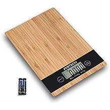 PRITECH - Báscula Digital de bambú Resistente para Cocina, Peso máximo 5Kg y Alta precisión