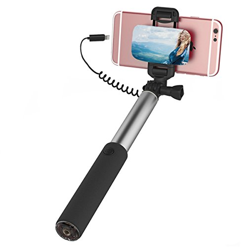 "ROCK iPhone 7 Bastone Selfie,Selfie Stick con iPhone Lightning Controllo di Legare e Grande Specchio[245mm a 900mm][6""o schermo più piccolo]per iPhone 7/7 Plus e altro iPhone con Connettore Fulmini - Grigio"