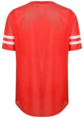 Chocolate Pickle ® Damen Air Tech Uni-Baseball-Druck Baggy T-Shirts 36-54 98 Newyork Red