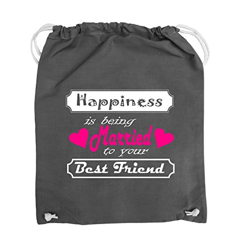 Comedy Bags - Happiness is being married to your best friend - Turnbeutel - 37x46cm - Farbe: Schwarz / Weiss-Neongrün Dunkelgrau / Weiss-Pink