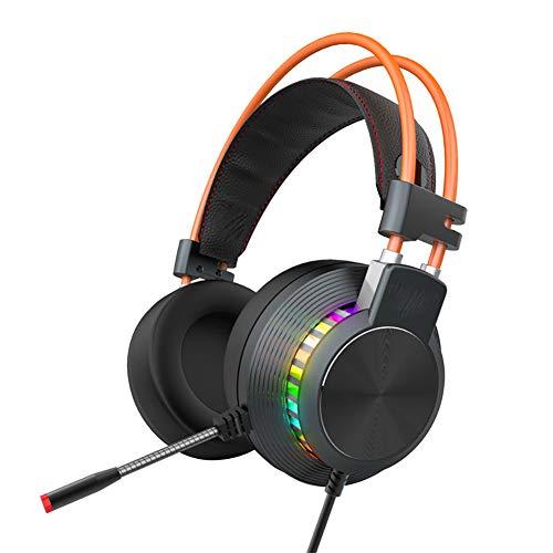 QNSQ Auriculares de Sonido estéreo Envolvente de 360   °, 7.1 Canales, micrófono con cancelación Activa de Ruido, Luces respiradores de Colores RGB.