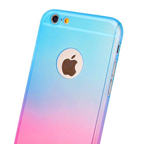 Coque iPhone 7, iPhone 8Coque, Yoota fin coloré Coque [protection d'écran en verre trempé] [] PC rigide Translucide anti-rayures Coque de protection intégrale 360 Bleu Rose
