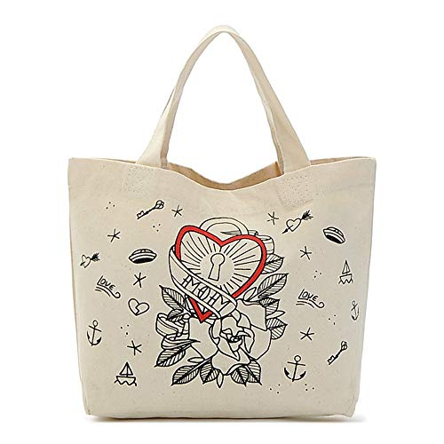 schen Handtasche Liebe Bento Tasche Nette Leinwand Lunch Bag Handtasche Lunch Box Bag.A ()