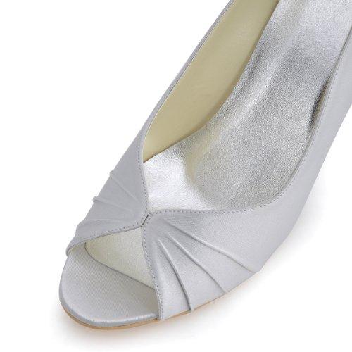 ElegantPark EP2009 Escarpins Femme Compense Satin Bout ouvert Chaussures de mariee mariage bal silver