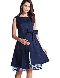 Sweet Mommy Maternity and Nursing Baby Shower Formal Elegant Dress With Floral Inner Layer