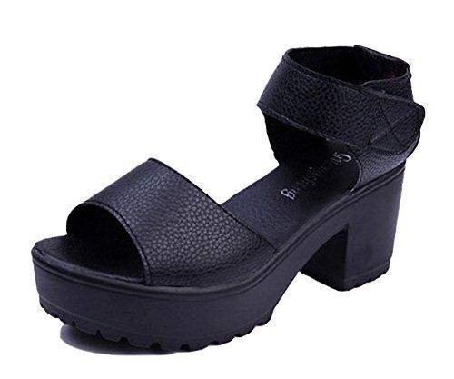 Minetom Damen Sommer Open-Toe Plateau Sandalen Gladiator Schuhe mit Blockabsatz PU Leder Gladiatoren Sandals Schwarz