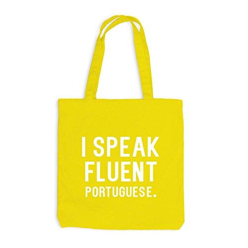 Jutebeutel - I speak fluent Portuguese - Sprache Portugiesisch Gelb