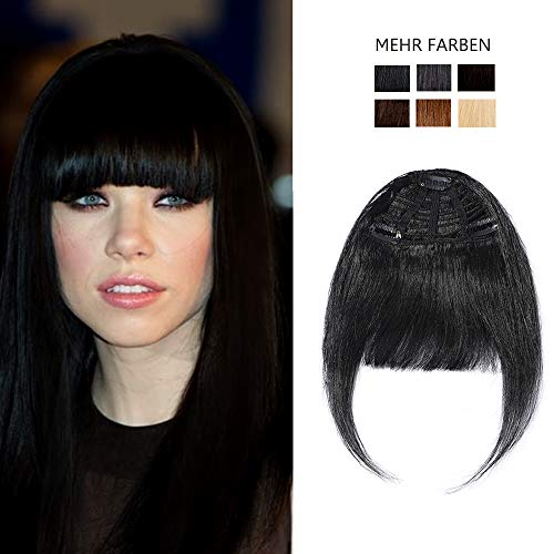 SEGO Clip in Pony Fringe echthaar One Piece Haarteil Extension Air Pony Hair 100% Remy Echthaar Schwarz #1 -