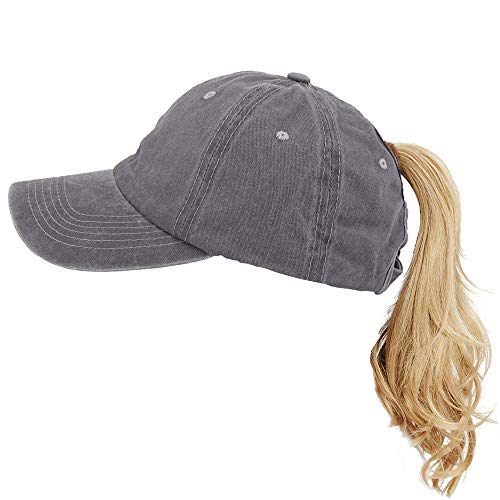 a19ae9a9383f XUDY Ponytail Baseball Cap Hat for Women,High Ponytail Messy Bun Vintage  Washed Distressed Twill
