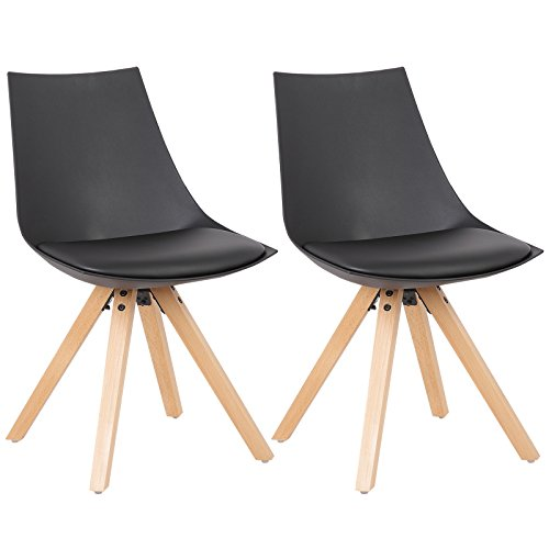 WOLTU® 2 Chaises de Salle à Manger Design siège en Cuir synthétique,Chaise de Cuisine avec Pieds Bois Massif,BH53sz-2 Noir