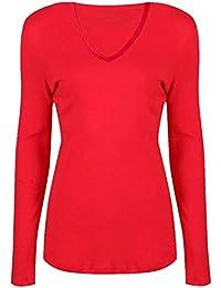 Islander Fashions para mujer con cuello en V Plain elstico camiseta de manga larga con mangas