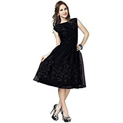 Aelicia Fit and Flare Skater A-Line Black Dress