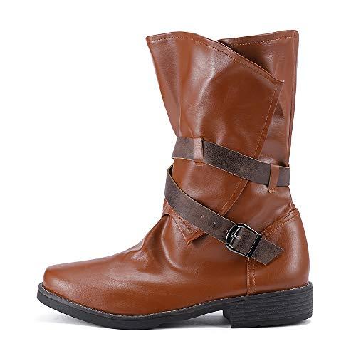 JYJM 2018 Stiefelparadies Damen Stiefeletten Thin High Worker Boots Warm Gefüttert Damen Stiefelparadies Damen mit Blockabsatz Lack Schleifen Pumps Schlangenhaut Muster Spitzschuh Buckle