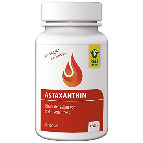Raab Vitalfood Astaxanthin-Kapseln aus Haematococcus-Algen, 60 Stück, vegan, laborgeprüft, rückstandskontrolliert, Schutz der Zellen vor oxidativem Stress, 1er Pack (42g Dose)
