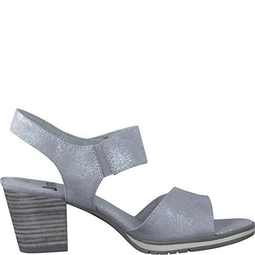 new style 756c1 e0ccd Weite-h Größe Grau Jana Damen 42 Textil Sandalette Silber ...