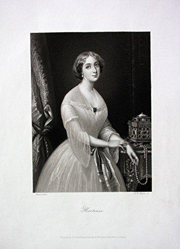 Grafik Hortense Frau Dame Kleid Mode Schmuck Biedermeier engraving Stahlstich