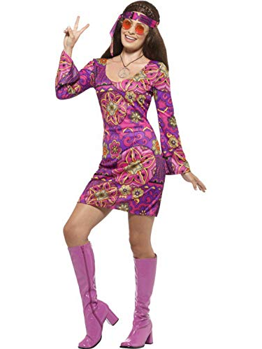 Bob Marley Kostüm Frauen - Luxuspiraten - Damen Frauen 60er Jahre Woodstock Hippie Kostüm mit Flower Power Kleid, Kopftuch und Anhänger, perfekt für Karneval, Fasching und Fastnacht, L, Violett