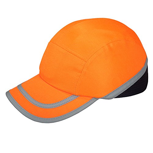 Casquette de Sécurité pour Chantier Anti Heurt Anti Choc Casquette Coquée Haute Visibilité Intérieur Plastique ABS - Orange