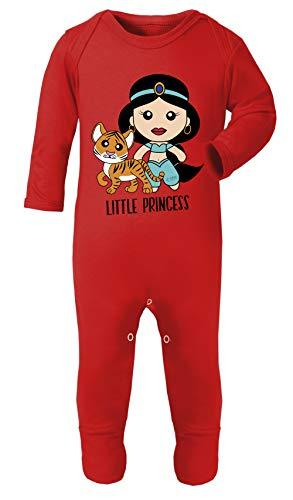 Monat 9 Großbritannien Kostüm 12 - Colour Fashion Aladdin Prinzessin Jasmin Print Kostüm Footies 100% Baumwolle hypoallergen Gr. 6-12 Monate, rot