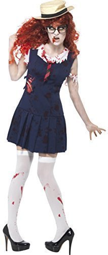 Damen-zombie Boarding Schule College Mädchen Uniform Halloween Horror Kostüm Outfit - Blau, (Kostüme Halloween Mädchen College Für)