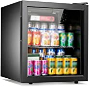 Small Refrigerators for Bedroom, Beverage Refrigerator and Cooler - 50L, 37DB, Drink Fridge with Glass Door, C