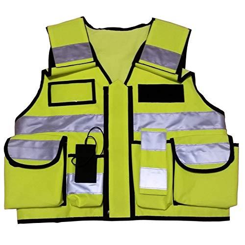 Einsatz Warnweste mit Reißverschluss reflektierend für Polizei, Security,  Sicherheitsweste mit Taschen, Patch zum Aufdruck Einsatzweste gelb