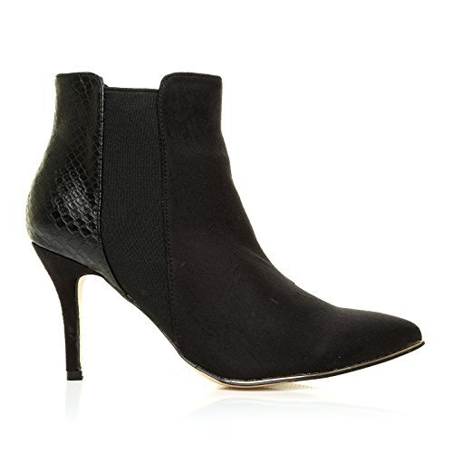 macy-black-microfibre-snake-high-heel-pointed-toe-ankle-boots-size-uk-7-eu-40