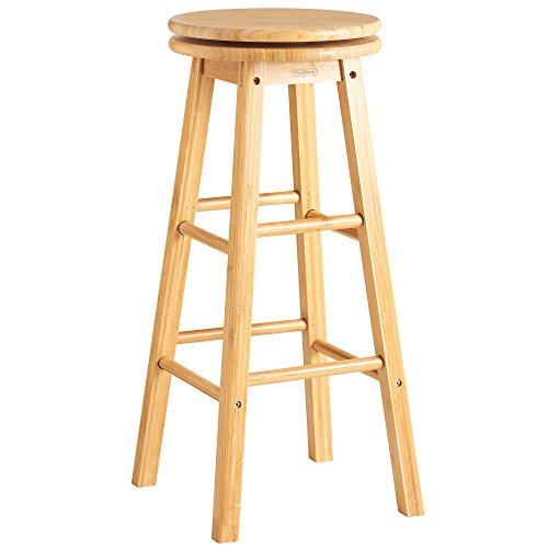 VonHaus Bamboo Breakfast Bar Stool - Wooden Revolving Swivel Chair, 70cm High & Four Foot Rests