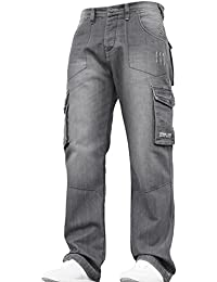 New Mens Designer Heavy Duty Multi Pocket Dark Cargo Combat Denim Jeans Pants All Waist and Leg Sizes