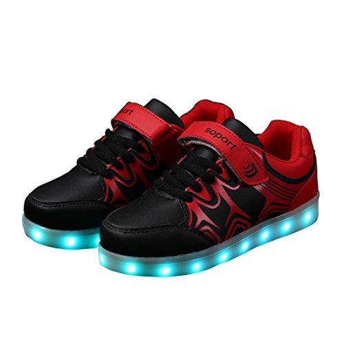DoGeek - Basket Led - Enfant Fille Garçon - 7 Couleurs lumière - USB Rechargeable Rouge