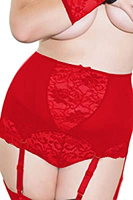 Womens Sexy High-Waisted Plus Sized Lace Hollow-out Garter Belt (Large, Red)