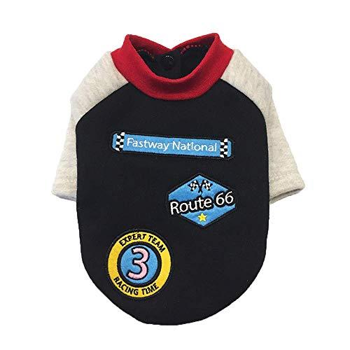 QINCH Home Link Dog Shirt, Herbst und Winter Pet Rundhals Shirt Kleidung, Small Medium Dog Racing Anzüge tragen stilvolle gemütliche Halloween, Weihnachtskostüme (S, schwarz) (Halloween Racing Anzüge)