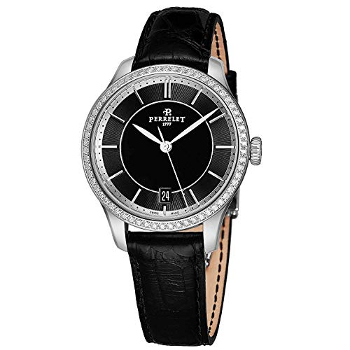 Perrelet Women's 35mm Black Alligator Leather Band Automatic Watch A2070-2