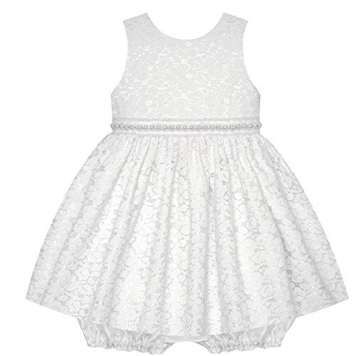 American Princess Traum Baby Mädchen Petticoat Kleid mit Spitze und Perlen inkl. Pump-Höschen Gr. 68,74,80 Größe 80 (Perlen Taft)