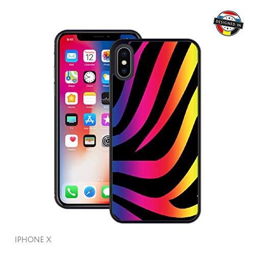 bogen-Zebra-Druck | Handgefertigt | iPhone X, XS | Schwarze Hülle | Extra Grip + Stoßfest ()